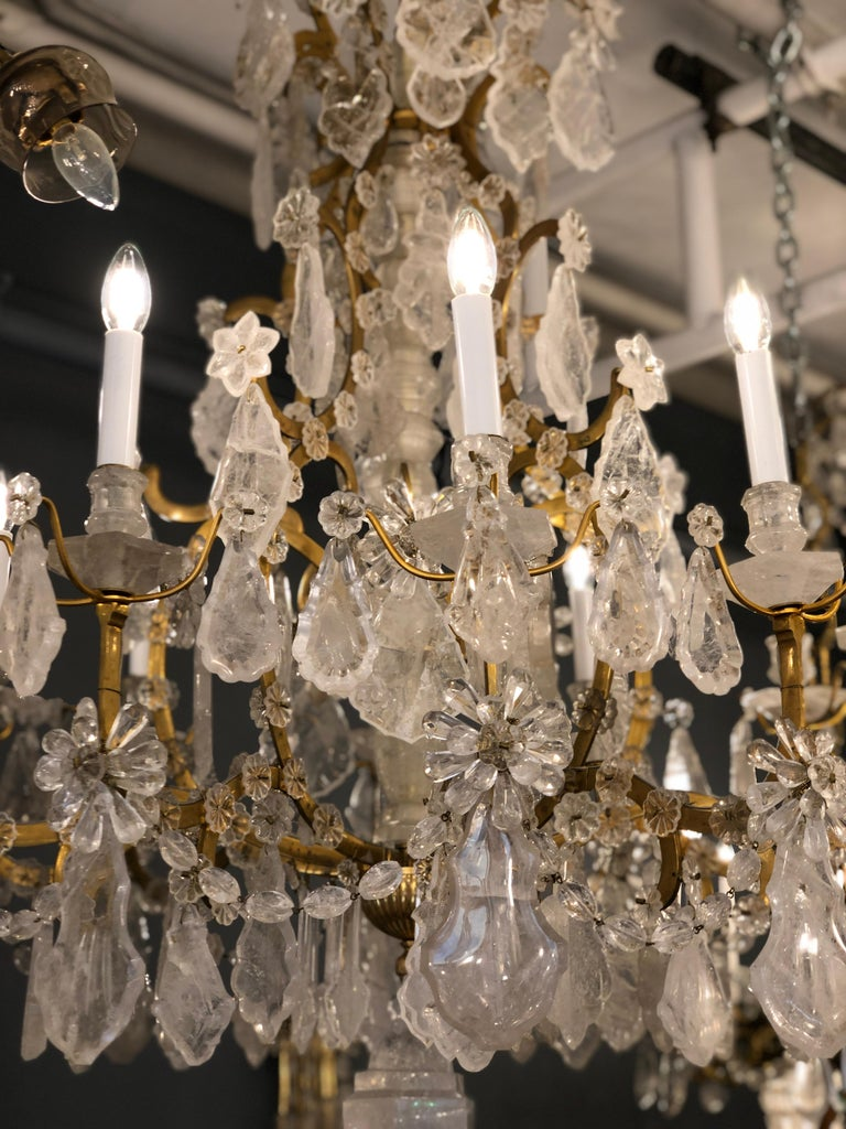 Pair of Exquisite Louis XV Style Rock Crystal Chandeliers For Sale 12