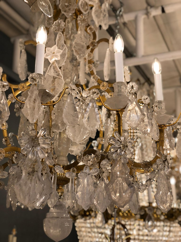 Pair of Exquisite Louis XV Style Rock Crystal Chandeliers For Sale 13