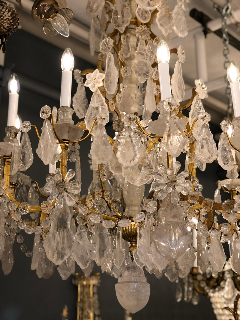 Pair of Exquisite Louis XV Style Rock Crystal Chandeliers For Sale 14