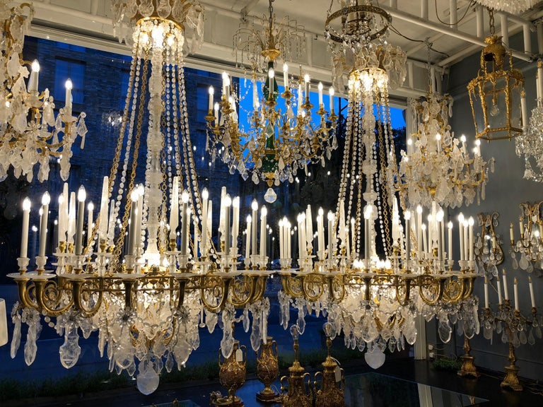 20th Century Pair of Exquisite Louis XV Style Rock Crystal Chandeliers For Sale