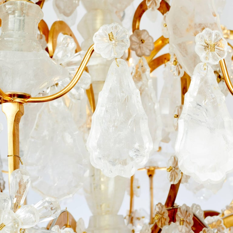 French Pair of Exquisite Louis XV Style Rock Crystal Chandeliers For Sale