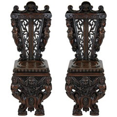 Pair of Exquisitely Carved Italian Walnut Hall Chairs