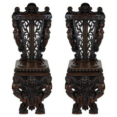 Pair of Exquisitely Carved Walnut Hall Chairs