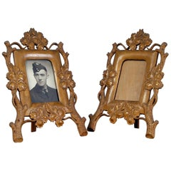 Pair of Exquisitely Hand Carved 20th Century Scandinavian Boxwood Picture Frames