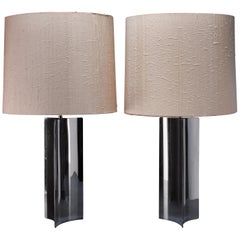 Pair of Extra Large 1960s Table/Console Lamps with Chrome Base and Fabric Hood
