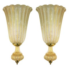 Pair of Extra Large Barovier & Toso Wall Lights with Label