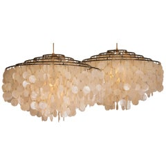 Pair of Extra Large Capiz Shell Chandeliers by Verner Panton for Luber AG. Swiss