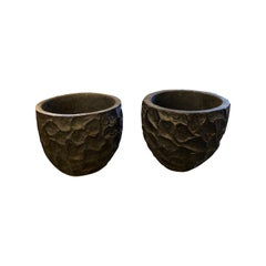 Pair of Extra Large Carved Ebonized Palm Planters, Indonesia, Contemporary