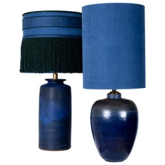 Pair of Extra large Ceramic Table Lamps with Custom Made Lampshades, René Houben