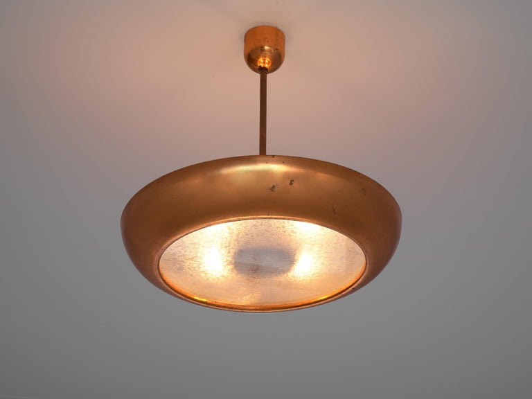 Mid-Century Modern Pair of Extra Large Copper Pendants For Sale