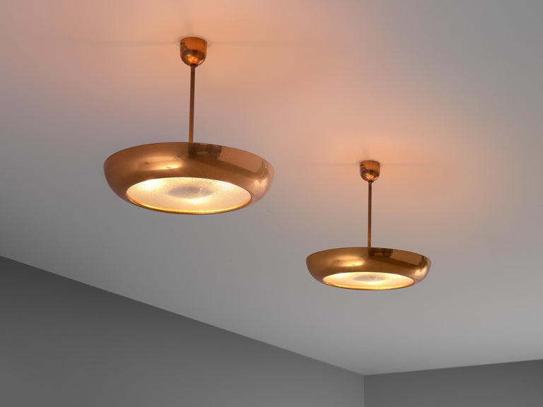 Mid-20th Century Pair of Extra Large Copper Pendants For Sale