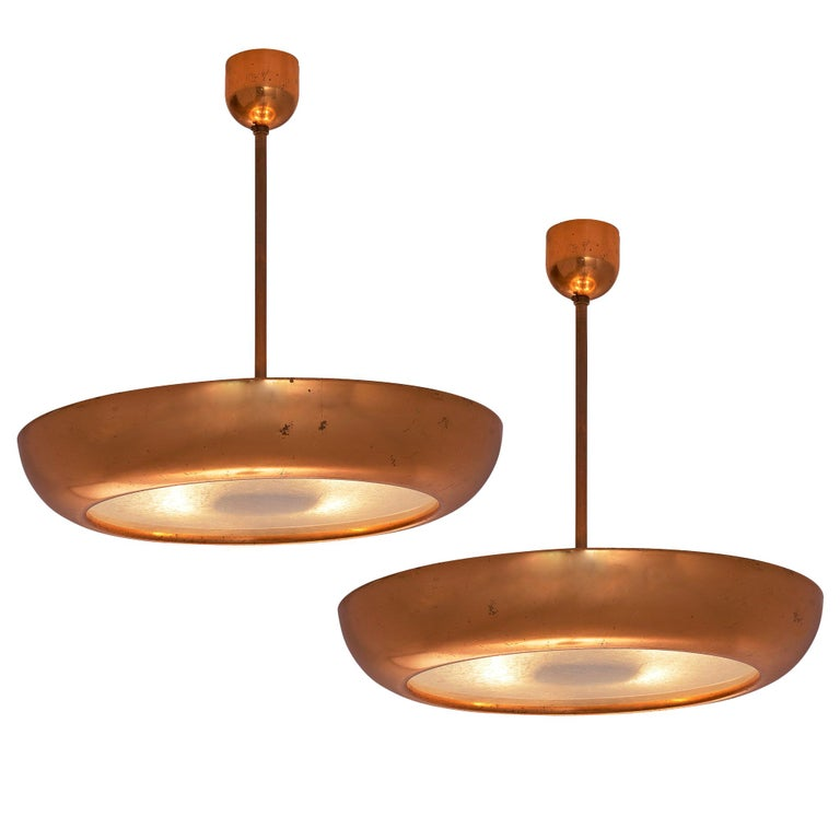 Pair of Extra Large Copper Pendants For Sale