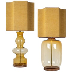 Pair of Extra Large Glass Shaped Table Lamp with Custom Made Silk Lamp R Houben