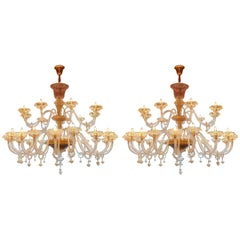Pair of Extra Large Huge Large Murano Glass Chandelier Lustre Ceiling Lamp