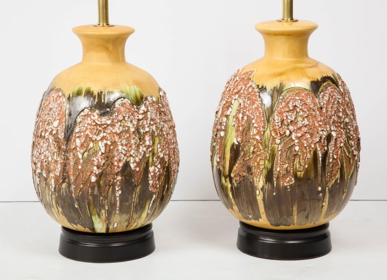 Mid-Century Modern Pair of Extra Large Italian Volcanic Glazed Ceramic Lamps For Sale