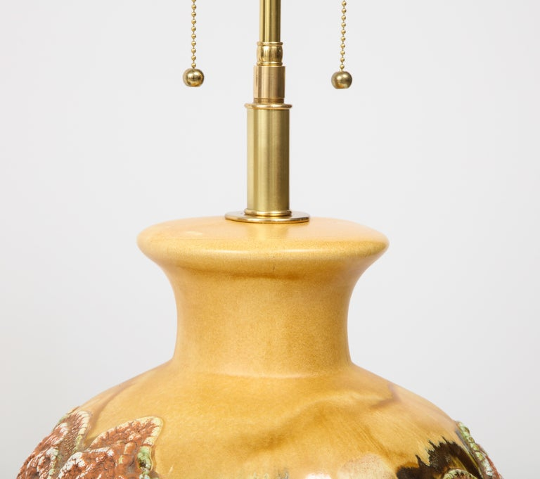 Pair of Extra Large Italian Volcanic Glazed Ceramic Lamps For Sale 2
