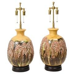 Pair of Extra Large Italian Volcanic Glazed Ceramic Lamps