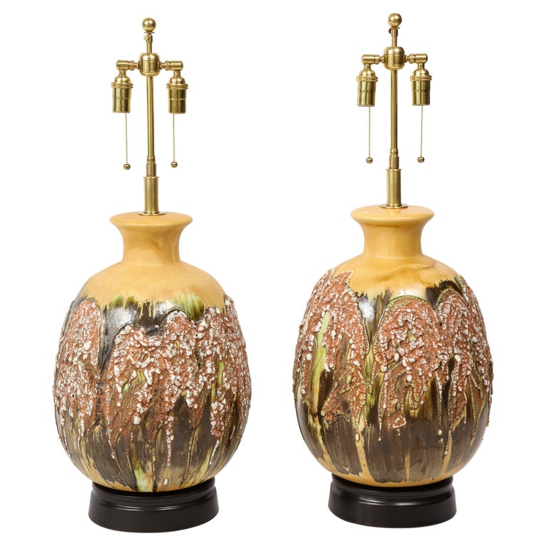 Pair of Extra Large Italian Volcanic Glazed Ceramic Lamps For Sale