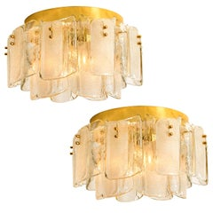 Pair of Extra Large Massive Glass Brass Flushmounts in the Style of Kalmar