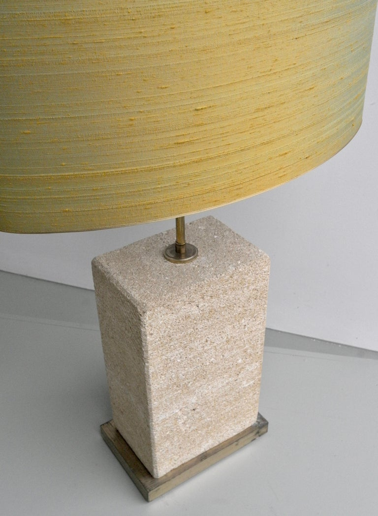 Mid-Century Modern Pair of Extra Large Sandstone, Brass and Silk Table Lamps by Roger Vanhevel For Sale
