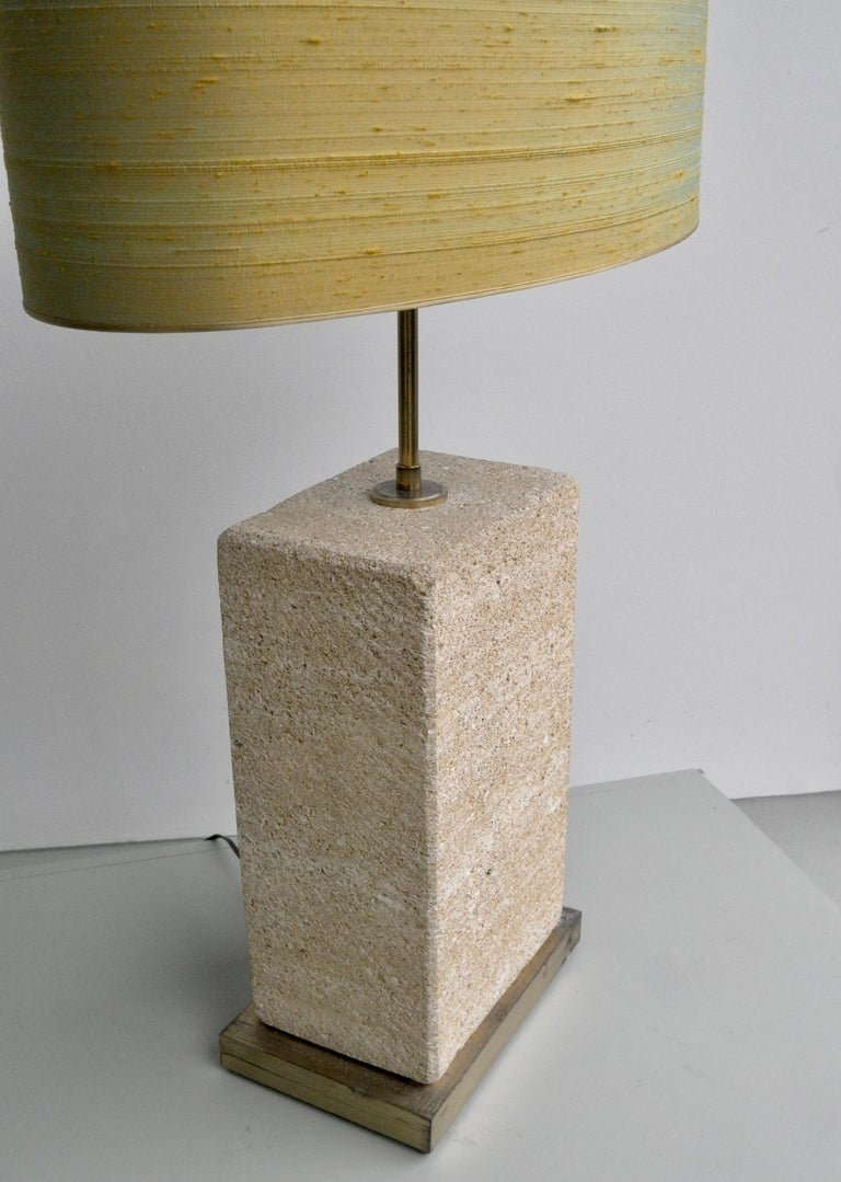 Belgian Pair of Extra Large Sandstone, Brass and Silk Table Lamps by Roger Vanhevel For Sale