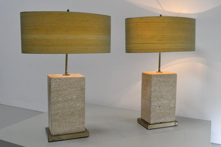 Pair of Extra Large Sandstone, Brass and Silk Table Lamps by Roger Vanhevel In Good Condition For Sale In The Hague, NL