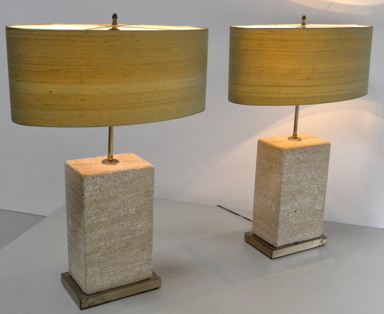 Mid-20th Century Pair of Extra Large Sandstone, Brass and Silk Table Lamps by Roger Vanhevel For Sale