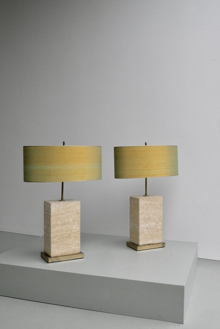 Pair of Extra Large Sandstone, Brass and Silk Table Lamps by Roger Vanhevel For Sale 1