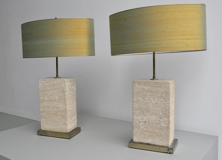 Pair of Extra Large Sandstone, Brass and Silk Table Lamps by Roger Vanhevel For Sale 2