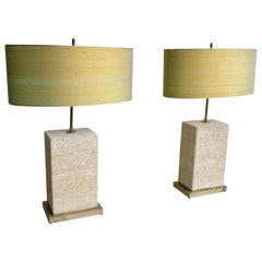 Pair of Extra Large Sandstone, Brass and Silk Table Lamps by Roger Vanhevel