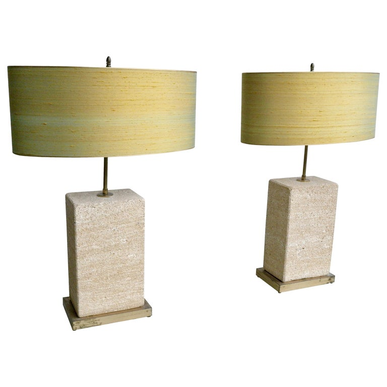 Pair of Extra Large Sandstone, Brass and Silk Table Lamps by Roger Vanhevel For Sale