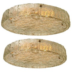 Pair of  Large Textured Glass Flush Mounts by Kaiser, 1960s