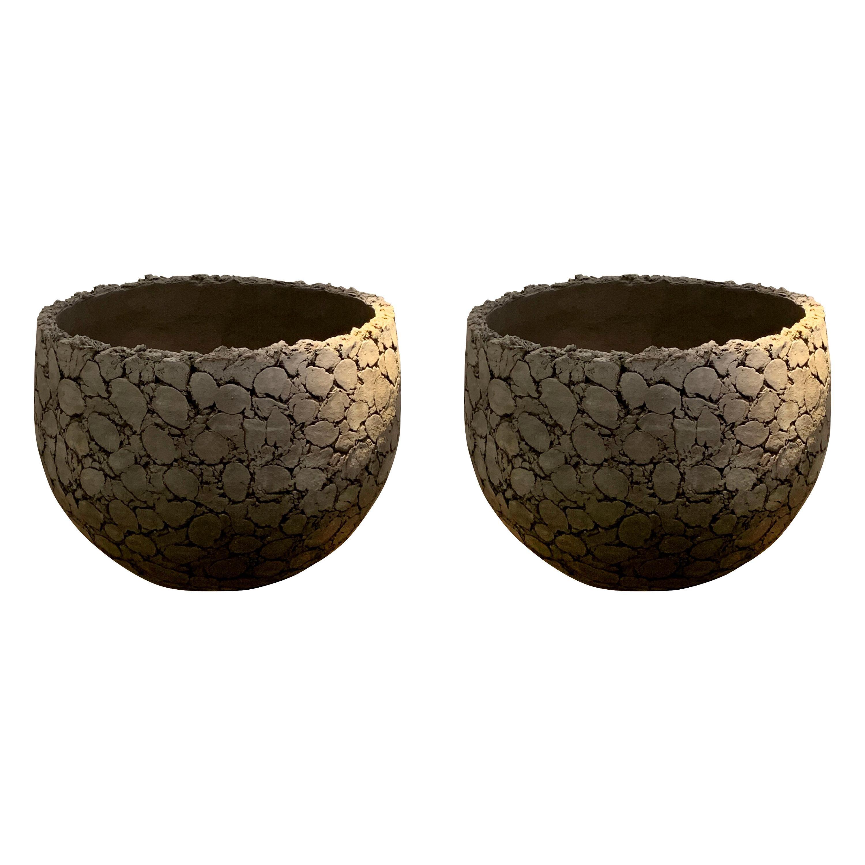 Pair of Extra Large Cork Design Terracotta Planters, Belgium, Contemporary