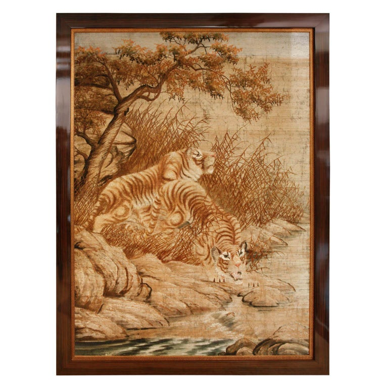 Beautifully hand-stitched tapestries depicting a pair of tigers and a pair of lions. Detailed shading and three dimensional weaving. Framed in high gloss Macassar with an inner golden border.