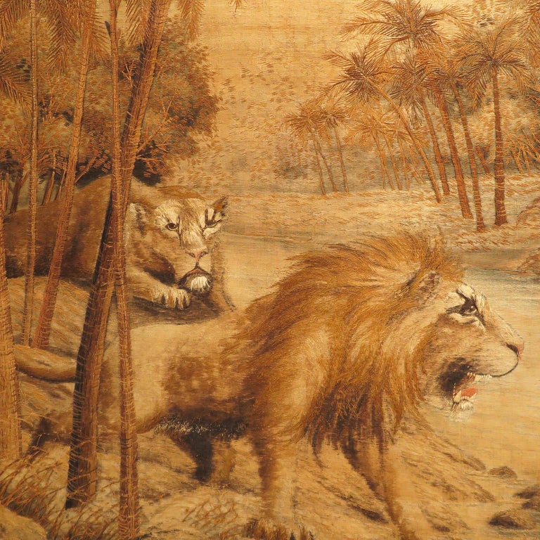 French Pair of Extra Large Tiger and Lion Tapestries, France, circa 1930s For Sale