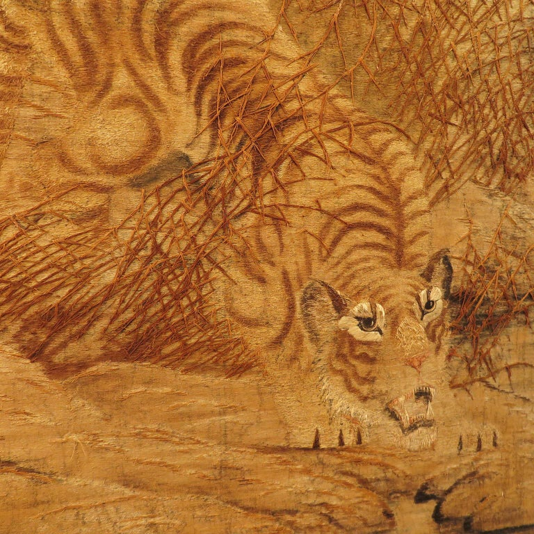 Hand-Woven Pair of Extra Large Tiger and Lion Tapestries, France, circa 1930s For Sale