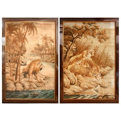 Pair of Extra Large Tiger and Lion Tapestries, France, circa 1930s