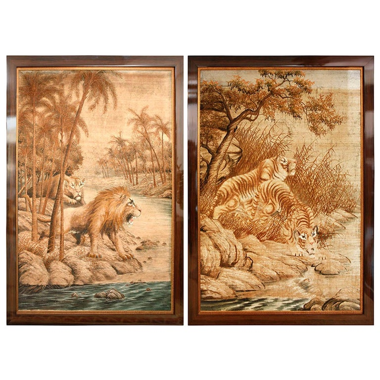 Pair of Extra Large Tiger and Lion Tapestries, France, circa 1930s For Sale