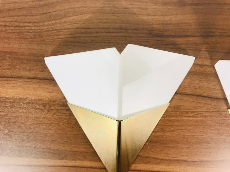 Brass Pair of Extraordinarry Triangle Ice Glass Sconces by Kalmar, Austria, 1960s For Sale