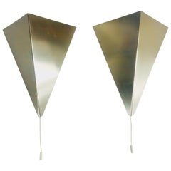 Pair of Extraordinary Triangle Metal Sconces by Bankamp, Germany, 1960s