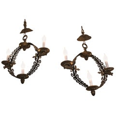 Pair of Extraordinary and Rare Medieval Style Antique Light Fixtures