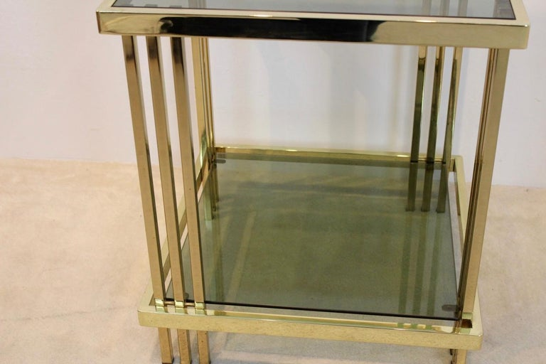 Pair of Extraordinary Graphical Brass and Glass Side Tables, France 1970s 4
