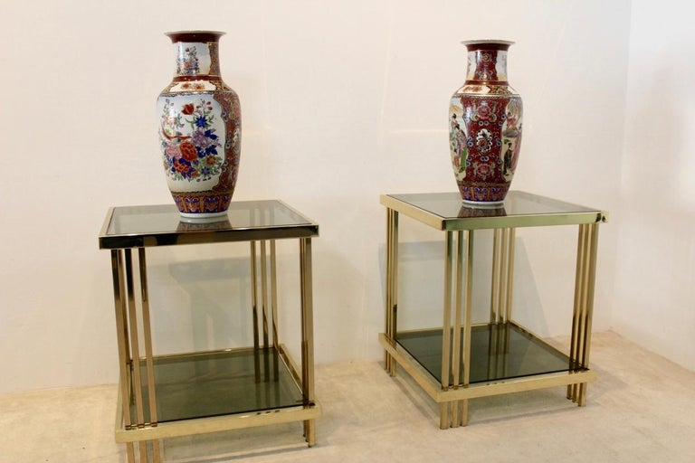 Pair of Extraordinary Graphical Brass and Glass Side Tables, France 1970s 5
