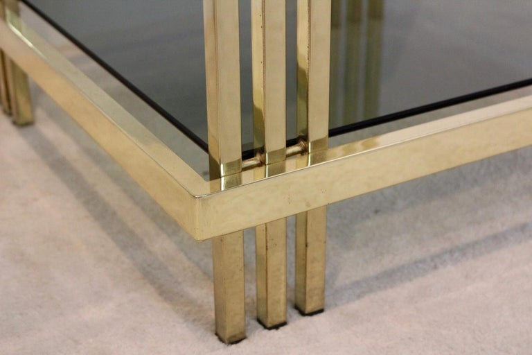 French Pair of Extraordinary Graphical Brass and Glass Side Tables, France 1970s