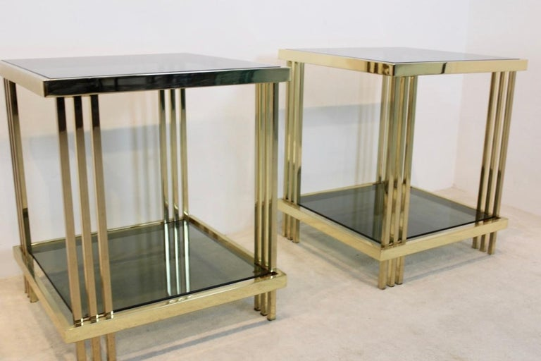 Pair of Extraordinary Graphical Brass and Glass Side Tables, France 1970s In Good Condition In Voorburg, NL