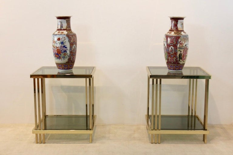 20th Century Pair of Extraordinary Graphical Brass and Glass Side Tables, France 1970s