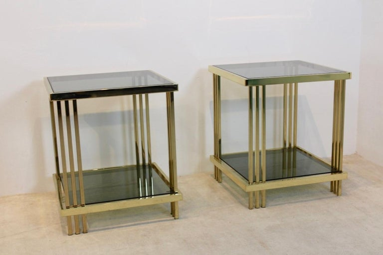 Pair of Extraordinary Graphical Brass and Glass Side Tables, France 1970s 1