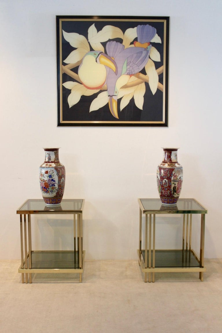 Pair of Extraordinary Graphical Brass and Glass Side Tables, France 1970s 3