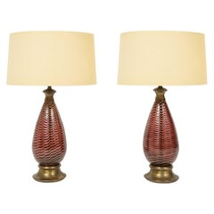 Pair of Extraordinary Hand Blown Glass Table Lamps, 1940s