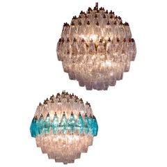 Pair of Extraordinary Spherical Poliedri Chandeliers Murano